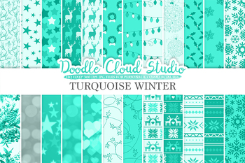 Turquoise Winter digital paper, Christmas Holiday Aqua patterns, Stars, Snow