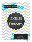 Turquoise, Yellow, and Gray Book Bin Numbers