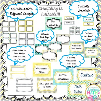 Turquoise Yellow and Gray Neutral Colors Classroom Decor - EDITABLE