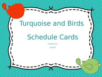 Turquoise and Birds Schedule Cards