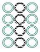 Turquoise and Black Chevron Small Bin Circles