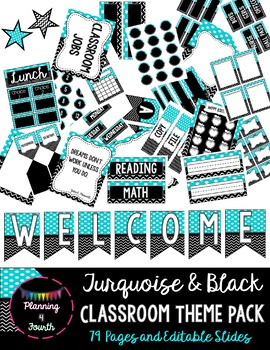 Turquoise and Black Class Theme Pack-EDITABLE!