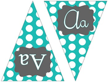 Turquoise and Charcoal Polka Dots ~ ABC Flags {Print and Cursive}