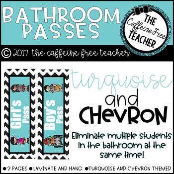 Turquoise and Chevron Bathroom Passes