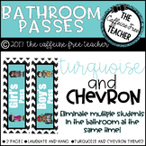 Turquoise and Chevron Bathroom Passes