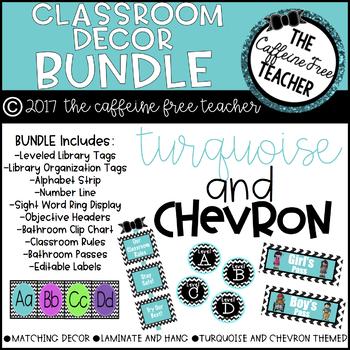 Turquoise and Chevron Classroom Decor and Organization BUNDLE!