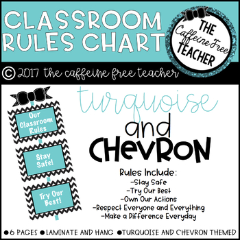 Turquoise and Chevron Classroom Rules Chart