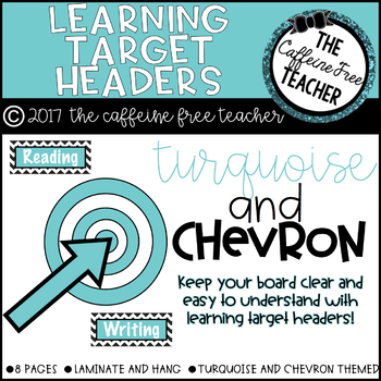 Turquoise and Chevron Learning Target and Objective Headers