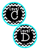Turquoise and Chevron Leveled Library Tags