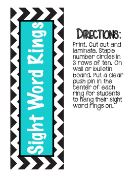 Turquoise and Chevron Sight Word Ring Display