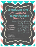 Turquoise and Coral Complete Teacher Resource Binder