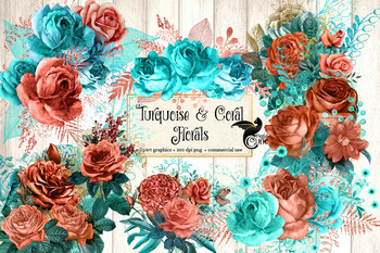 Turquoise and Coral Flower Clipart, aqua teal and peach rustic wedding florals