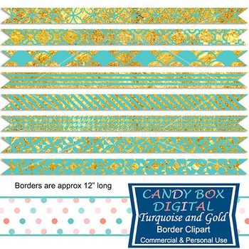 Turquoise and Gold Digital Ribbon Borders