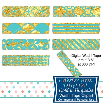 Turquoise and Gold Digital Washi Tape