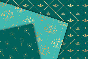 Turquoise and Gold Princess Digital Paper