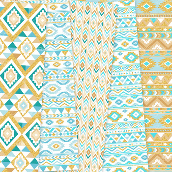 Turquoise and Gold aztec Digital Paper, Boho seamless patterns backgrounds