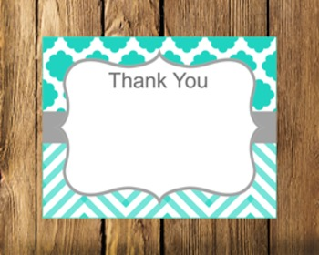 Turquoise and Grey Flat Thank You Note Cards ** Freebie **