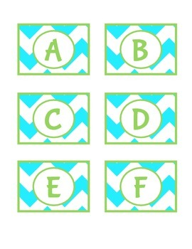 Turquoise and Lime Green Book Bin Labels