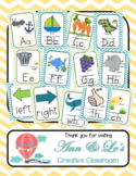 Turquoise and Lime Green Chevron Alphabet, Right and Left, and Digraph Posters