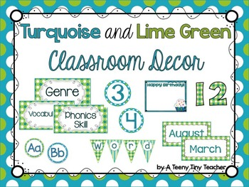Turquoise and Lime Green Classroom Decor Pack