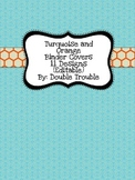 Turquoise and Orange Binder Covers-Editable