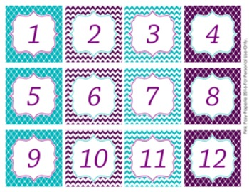 Turquoise and Purple Classroom Decor Monthly Calendar Numbers