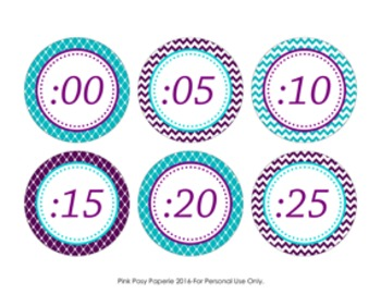 Turquoise and Purple Clock Number Labels