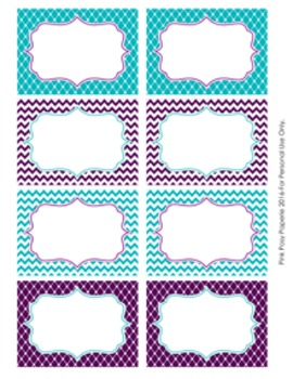 Turquoise and Purple Theme Classroom Decor Bin Labels