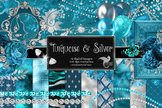 Turquoise and Silver Digital Scrapbook Kit