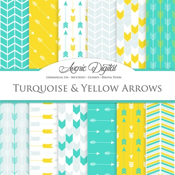 Turquoise and Yellow Arrows Digital Paper patterns tribal scrapbook background