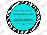 Bulletin Board Headers: Zebra & Turquoise (editable)