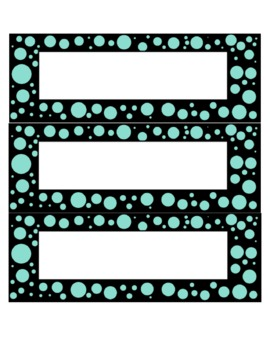 Turquoise and black dot cards