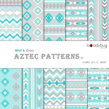 Turquoise and gray aztec patterns Wallpapers. Tribal digital papers.