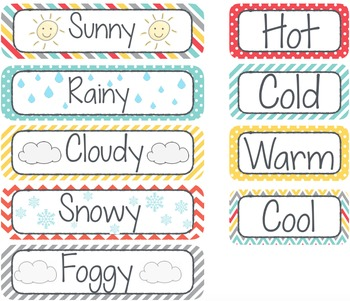 Turquoise, red, and yellow Classroom Calendar Set