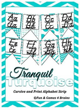 Turquoise themed manuscript and cursive Alphabet banner