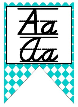 Turquoise themed print and cursive Alphabet banner