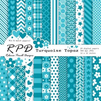 Turquoise & white, mix & match patterns digital paper set/ backgrounds