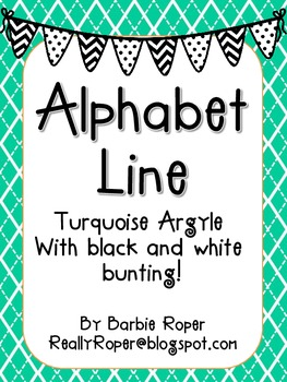 Turquoise with Black and White bunting Alphabet Line