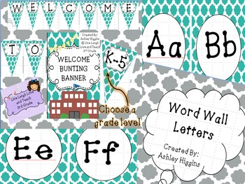 Turquoise word wall letters and welcome banner bundle