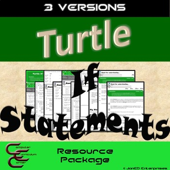 Turtle If Statements 3 Version Resource Package