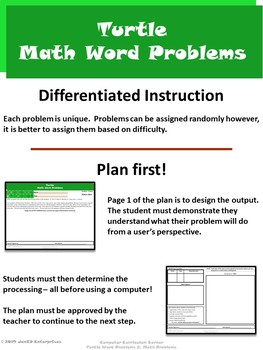 Turtle Word Problems 2: Math Problems ⇨EDITABLE⇦ Resource Package