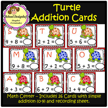 Turtle Addition Card - Math Center (School Designhcf)