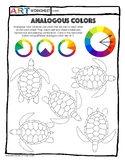 Turtle Art Color Wheel Theory - Analogous Colors: Lesson, Bell Ringer, Sub Plan