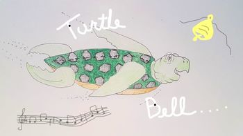 Turtle Bell lyrics with chords & colouring page