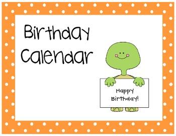 Turtle Birthday Calendar