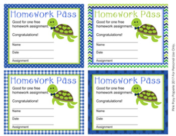 Turtle Boy Homework Passes