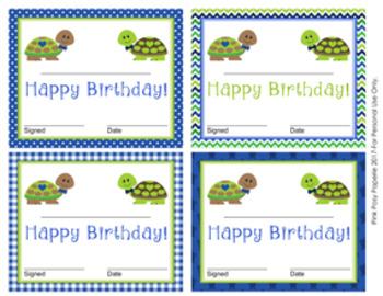 Turtle Boy Theme Birthday Certificates