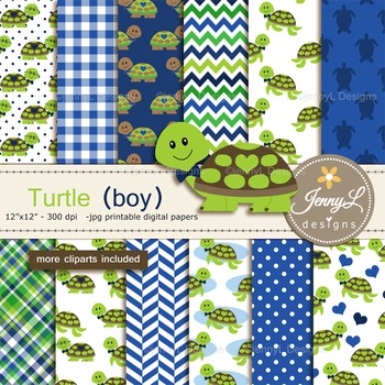Turtle Boy digital paper and clipart