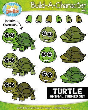 Turtle Build-A-Character Clipart Set — Includes 25+ Graphics!