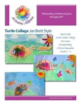Turtle Collage Jan Brett Style Art Lesson